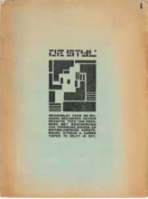 Fig. 1 Cover of the first issue of De Stijl: maandblad voor de beeldende vakken / De Stijl: Monthly magazine for the visual arts, with vignette, designed by Vilmos Huszár, 1917