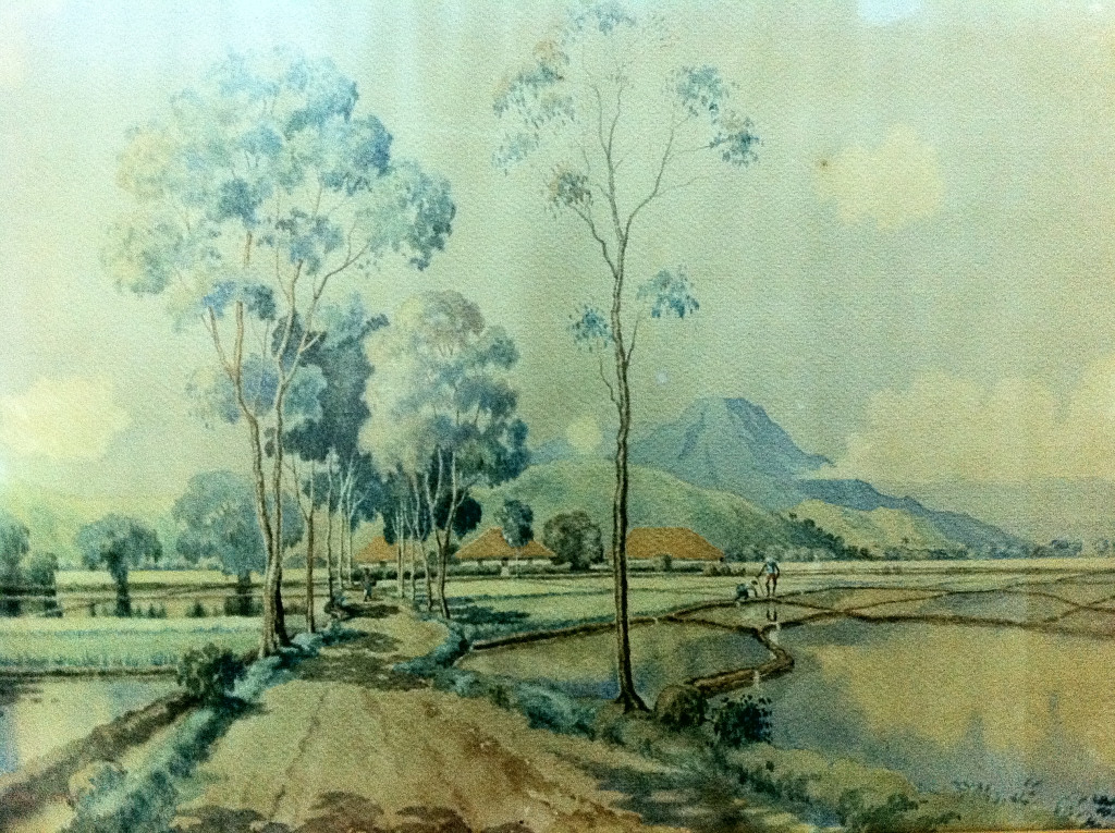 Sukarno, Landscape, watercolor on paper, 52.5 x 71.5cm, 1926 (left) and Sukarno, Landscape, watercolor on paper, 53.3x74.5cm, 1926 (right).  Photographed with permission from the Dullah Museum