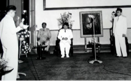 Sukarno at an event at the Yogyakarta Presidential Palace. (Photo: State Secretariat of Indonesia)