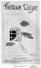 "Sukarno's caricature ""Salam dari Penjara"" in Fikiran Ra'jat, 1932"