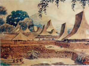 Sukarno, Kampung Ambugaga, watercolor on paper, 1936. (Collection of Laskar Budi Utomo)