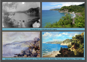 Flores beach old and now (upper). Sukarno's painting and Basoeki Abdullah's painting (down). Compilation by Mikke Susanto