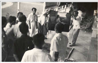 Sukarno with several artists discuss about Trubus's Painting in Merdeka Palace, Jakarta, 1950s. Documentation of Dullah Museum.