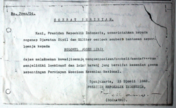 Letter establishing the National Art Museum, signed by Sukarno. Document: Agus Djaja