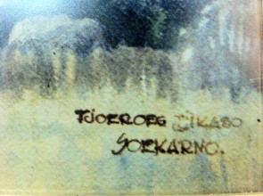 Sukarno, Tjoeroeg Tjikaso 1926–27 (?), with a detail of the title and signature.  Photographed with permission from the Bung Karno Foundation and Dullah Museum
