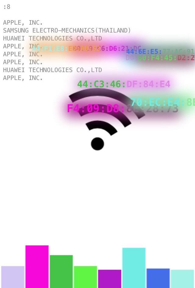 JODI, '\/\/iFi', 2018, Wi-Fi Captive Portal nodes visualiseren nabije mobiele telefoons, courtesy de kunstenaar