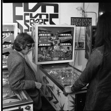 "Photo taken by Hans Brinkman for the planned pinball issue of ""The Situationist Times."""
