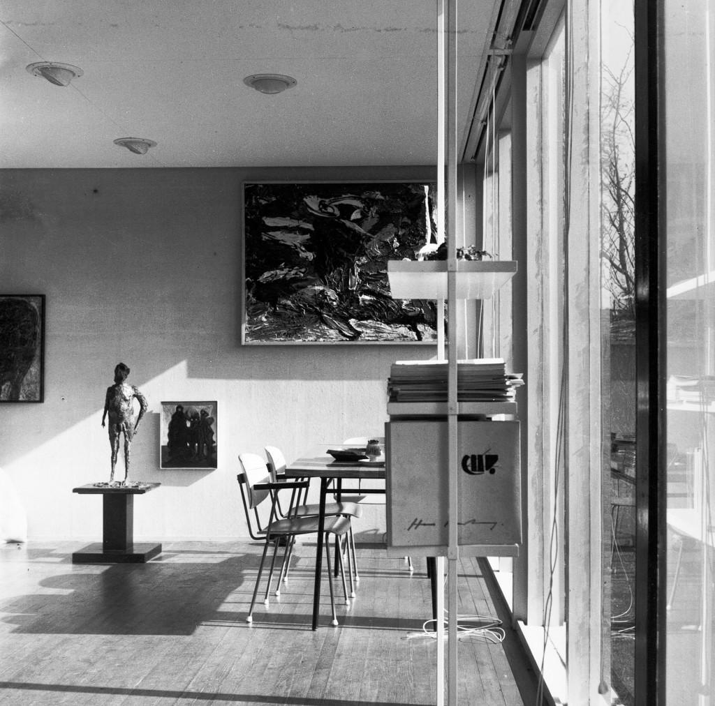 Het atelier in het huis van Hans en Alice de Jong (architect Jelle Abma), Hengelo. Archief Jacqueline de Jong.