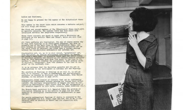 "Left: Press release for ""The Situationist Times"" no. 5, 1965. Photo: Berlingske Tidende. Right: Jacqueline at the press conference for ""The Situationist Times"" no. 5 at Galerie Samuel Strand, 1965. Photo: Berlingske Tidende."