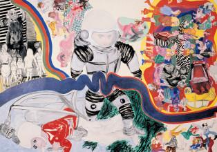 """Jacqueline de Jong, """"Tournevicieux cosmonautique (les âmes les plus confuses se retrouvent un matin conditionés par un peu de pésanteur) (private life of cosmonauts),"""" 1966. Private collection. Courtesy of the artist."""