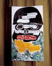 """Jacqueline de Jong, """"Réformé la société ouvriers étudiants,"""" 1968, poster. Courtesy of the artist."""
