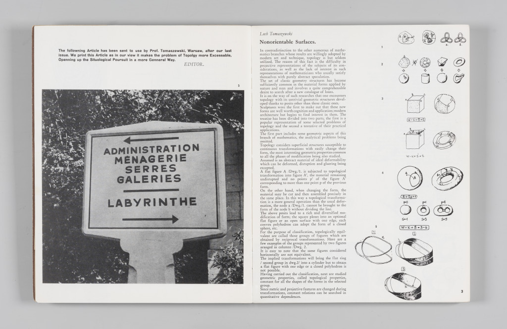 "Lech Tomaszewski, ""Non-Orientable Surfaces,"" ""The Situationist Times"" 4 (October 1963), pages 2–3. All reproduction, deformation, modification, derivation, and transformation of ""The Situationist Times"" is permitted."