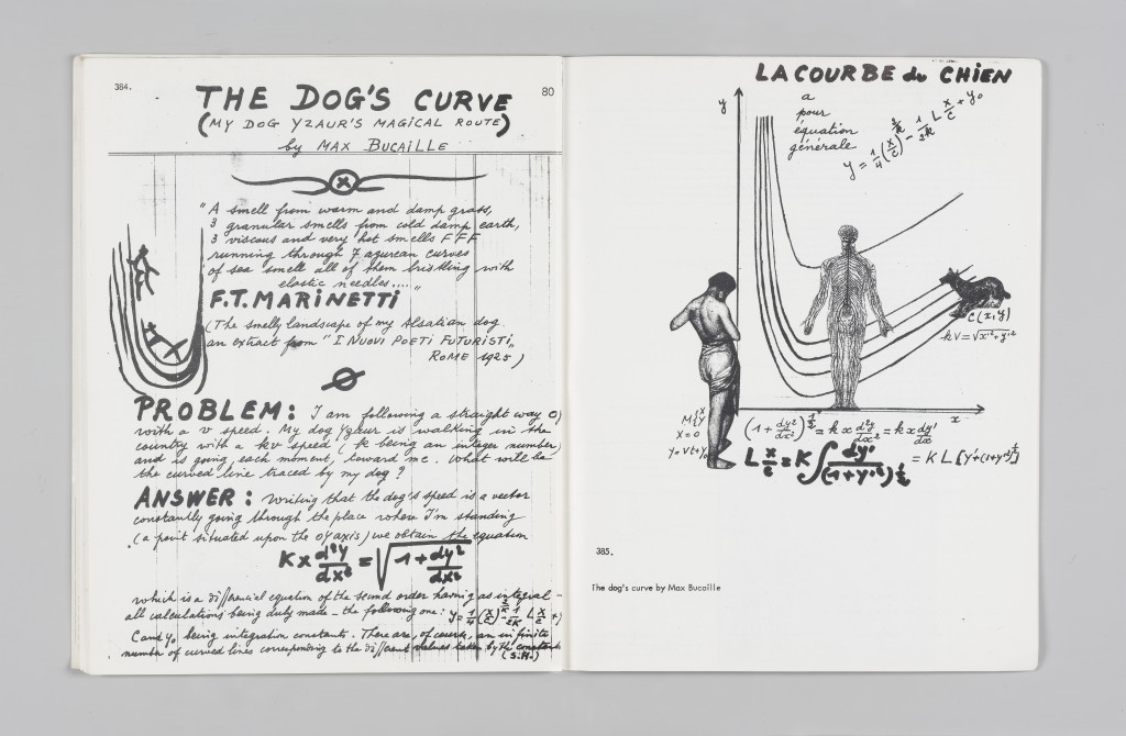 "Max Bucaille, ""The Dog's Curve,"" ""The Situationist Times"" 3 (January 1963), pages 80–81. All reproduction, deformation, modification, derivation, and transformation of ""The Situationist Times"" is permitted."