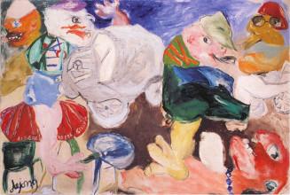 """Jacqueline de Jong, """"Le Pazze della Piazza Ascona,"""" 1966. Private collection. Courtesy of the artist."""