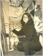 """Jacqueline de Jong painting """"Le Salau et les Salopards,"""" 1967. Archive Jacqueline de Jong."""
