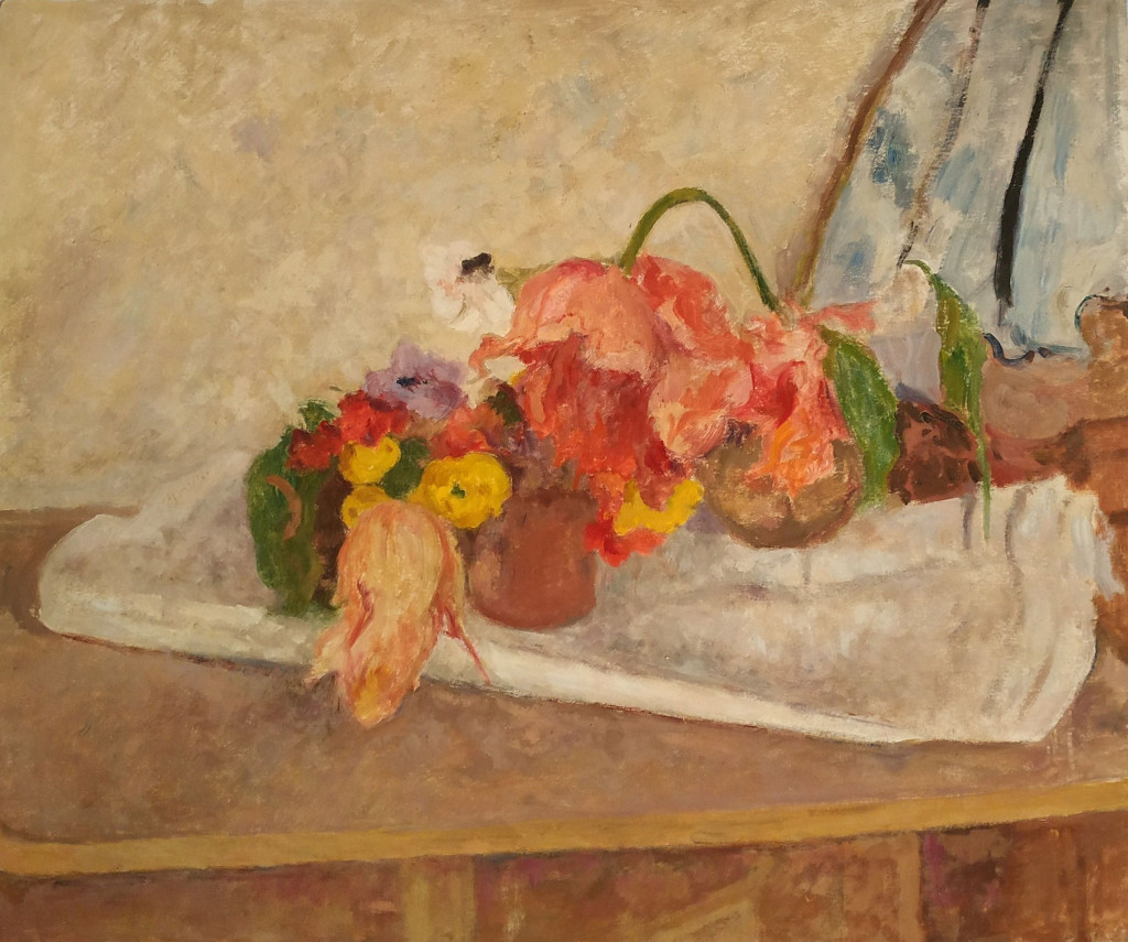 Bé de Waard, 'Still Life with Flowers', date unknown, oil on paper, mounted on panel, private collection.