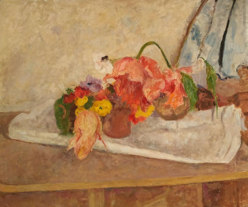 Bé de Waard, Stilleven met bloemen, datering onbekend, olieverf op papier op paneel, particuliere collectie