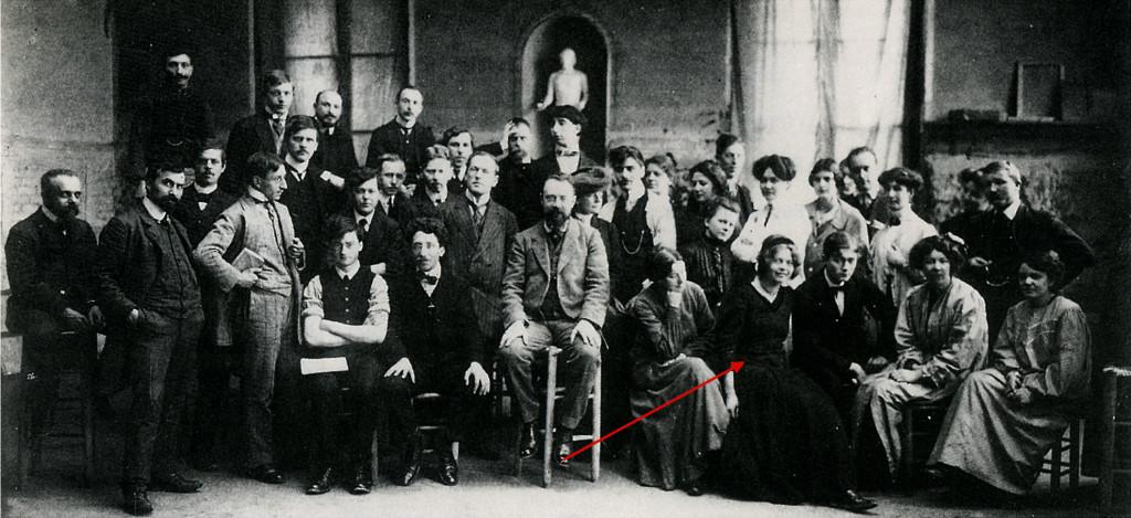 Matisse en leerlingen, Académie Matisse, 1909, foto: Archives Matisse
