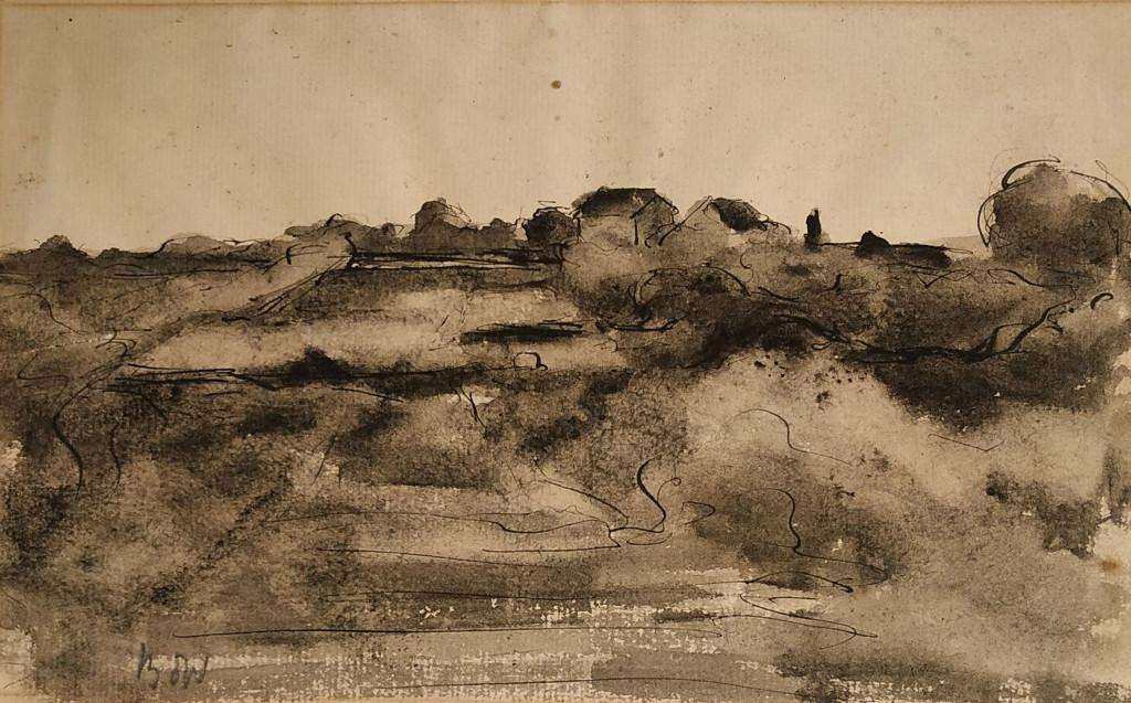 Bé de Waard, Landschap, datering onbekend, inkt, gewassen, op papier, particuliere collectie