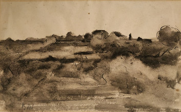 Bé de Waard, 'Landscape', date unknown, ink, washed, on paper, private collection.