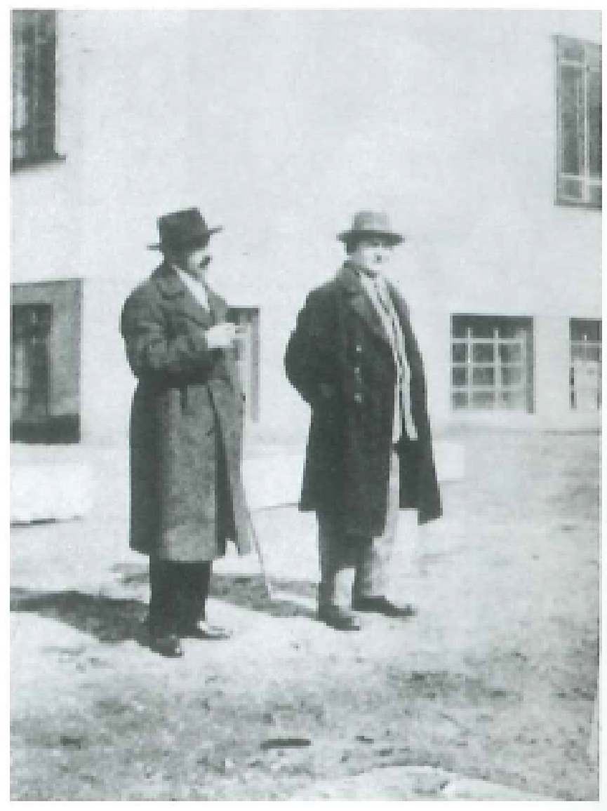 Fig. 4  Malevich and Tadeusz Peiper in front of the Bauhaus in Dessau, April 7, 1927.