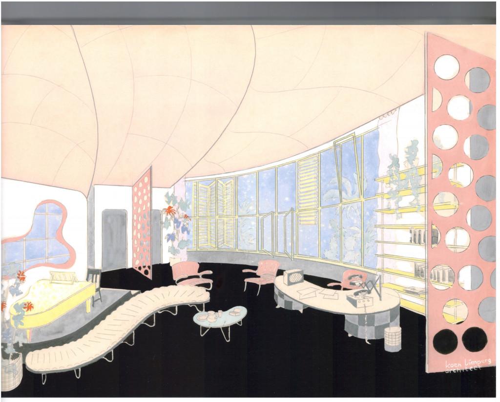 Fig. 15. Limperg interieur, theaterdecor, ontwerp op papier, 1936. Bron: Koch, 'Tegendraads Modern', 2014, p. 23, fig. 1.3