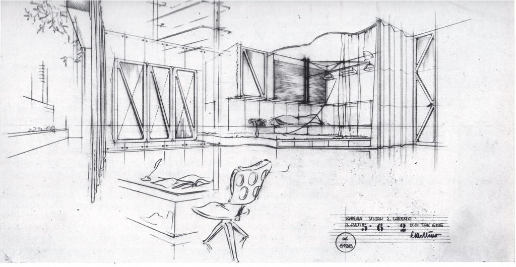 Fig. 17. Carlo Mollino interior, 1941, aluminium i.c.m. palissanderhout. Bron: Brino 1985, p. 85.