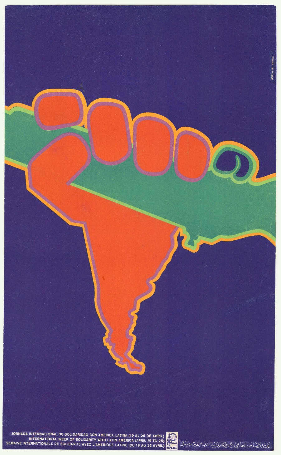 Asela M. Perez, Jornada internacional de solidaridad con America Latina (Internationale dag van solidariteit met Latijns-Amerika), 1970. Collectie Stedelijk Museum Amsterdam