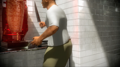 Deniz Eroglu, Singing Baba (Baba as an Artist, Portrait) & Singing Kebab (Fleisch of My Life), 2015,  tweekanaals video met 3D-animatie, kleur, geluid, 2 min., 41 sec. en 1 min., 58 sec., courtesy de kunstenaar