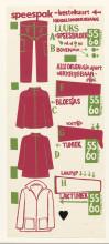 Instructiekaart voor speespakken, zeefdruk, 1966-1967