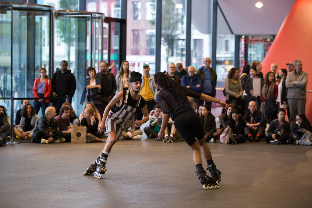 "Figure 1. Alex Baczynski-Jenkins, ""Us Swerve"" (2014). Performance view, Stedelijk Museum, Amsterdam, 2019. Originally commissioned and produced by Basel Liste. Co-produced in Amsterdam by Julidans & Stedelijk Museum. Photo: Maarten Nauw."