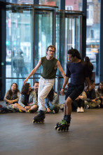 """Figure 1. Alex Baczynski-Jenkins, """"Us Swerve"""" (2014). Performance view, Stedelijk Museum, Amsterdam, 2019. Originally commissioned and produced by Basel Liste. Co-produced in Amsterdam by Julidans & Stedelijk Museum. Photo: Maarten Nauw."""