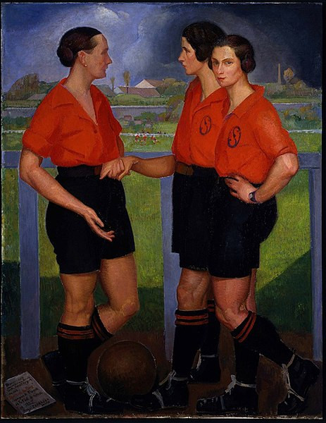 Angel Zarraga, 'Tres futbolistas / Drie voetbalsters', 1922, Museo de Arte Moderno, Mexico-Stad. https://commons.wikimedia.org/wiki/File:Fotabl-feminin.jpg