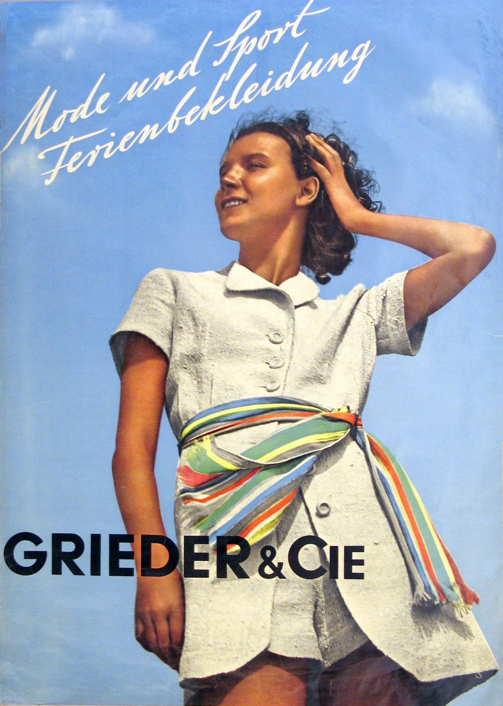Ontwerper onbekend, affiche 'Grieder & Cie., Mode und Sport Ferienbekleidung', ca. 1934, collectie Stedelijk Museum, Amsterdam.