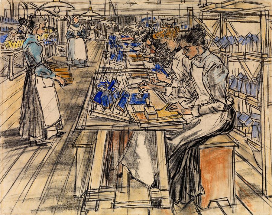 Jan Toorop, De kokerplakkerij, 1905