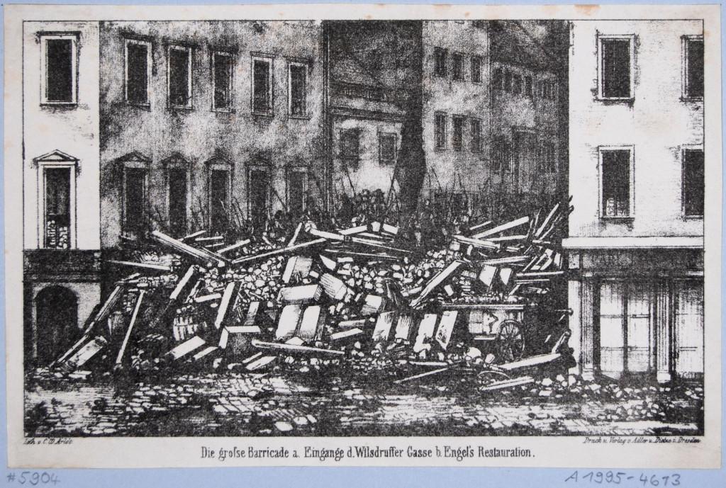"""Carl Wilhelm Arldt, """"Maiaufstand 1849 in Dresden, die große Barrikade am Eingang der Wilsdruffer Gasse,"""" ca. 1850. Lithograph, 13.1 × 20.3 cm. Photo: Ulrike Hübner-Grötzsch/Denise Görlich. Courtesy of Kupferstich-Kabinett, Dresden."""
