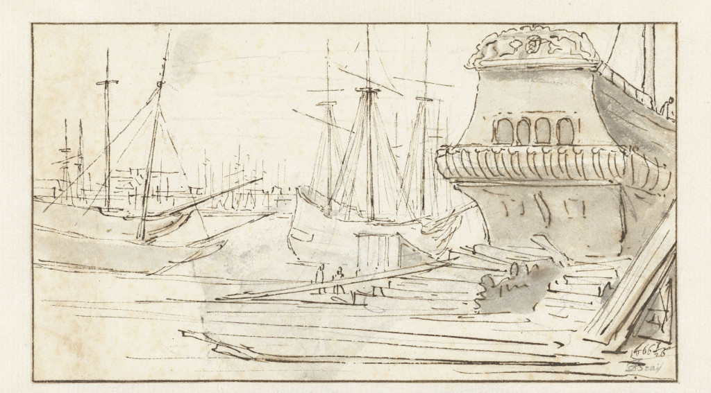 "Jan de Bray, ""View of the Shipyard in Amsterdam,"" 1666. Pencil and ink on paper, 8.5 × 15.2 cm. Collection Rijksmuseum. Gift of A.H. Beels van Heemstede-van Loon. Creative Commons 0: Public Domain."
