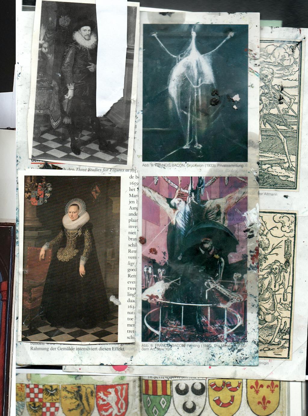 Natasja Kensmil, Installatie (detail), 2020. Mixed media collage op bladzijdes van 'Graven van Holland' en kunstgeschiedenisboeken. Met dank aan de kunstenaar.