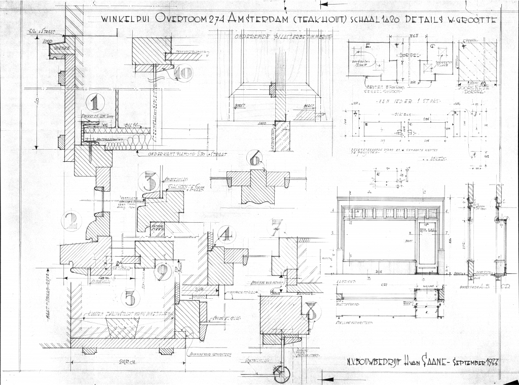Technical drawing of the facade of Overtoom 274. Image courtesy of Amsterdam Municipal Building Archives.