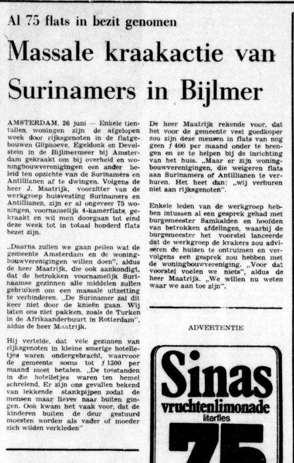 """From newspaper """"De Tijd,"""" June 26, 1974."""