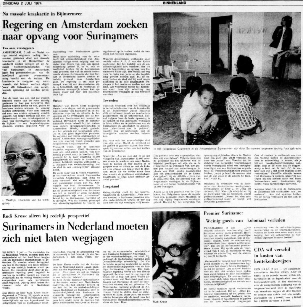 """From newspaper """"De Tijd,"""" July 2, 1974."""
