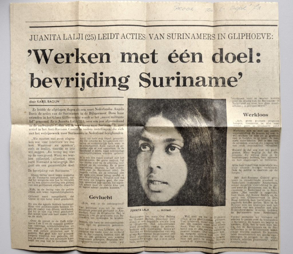 """From the personal archive of Juanita Lalji, newspaper clipping from """"Het Parool,"""" September 6, 1975."""