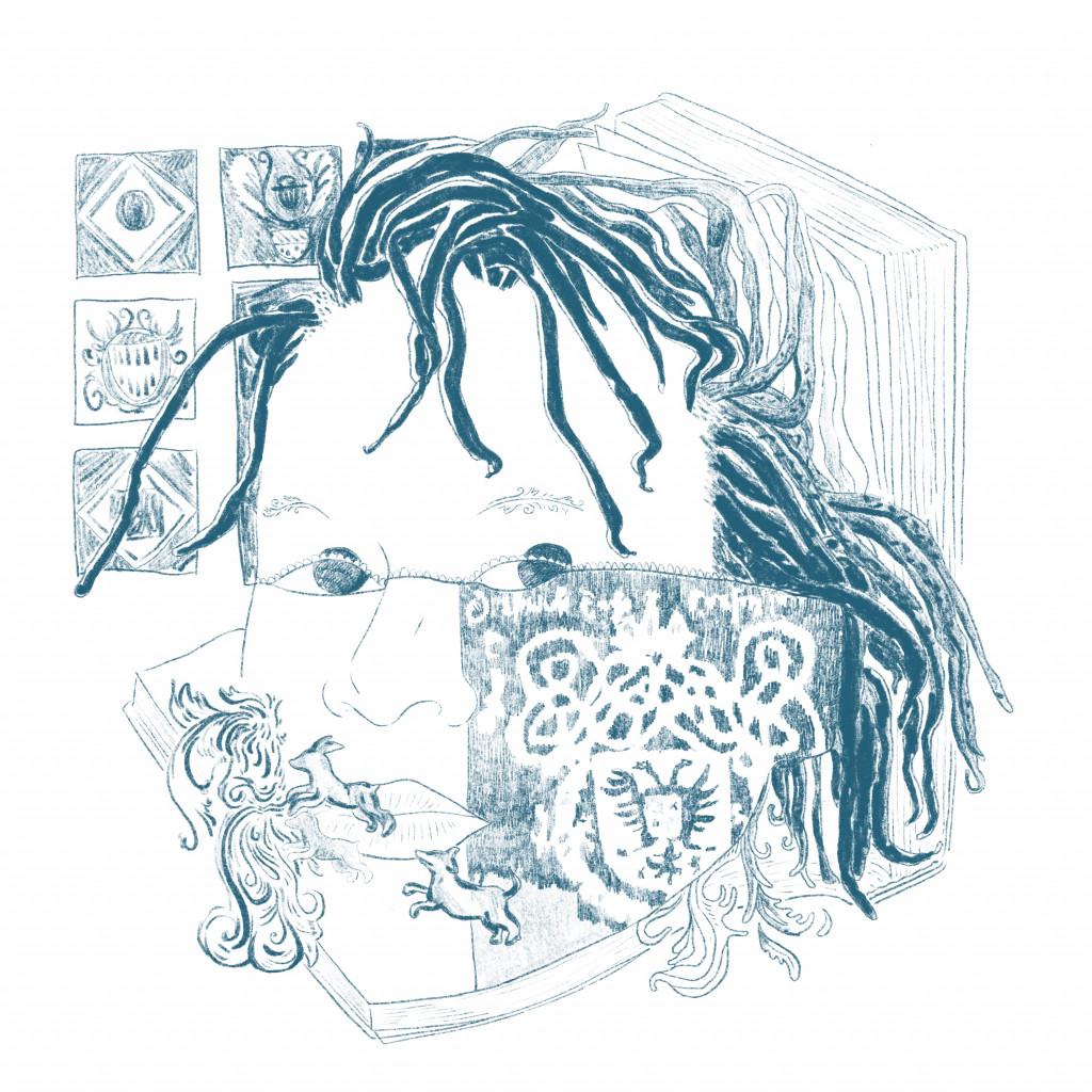 Illustratie door Haitham Haddad naar Natasja Kensmils 'HUWELIJKSPORTRET van Johan de Witt en Wendela Bicker', 2020.