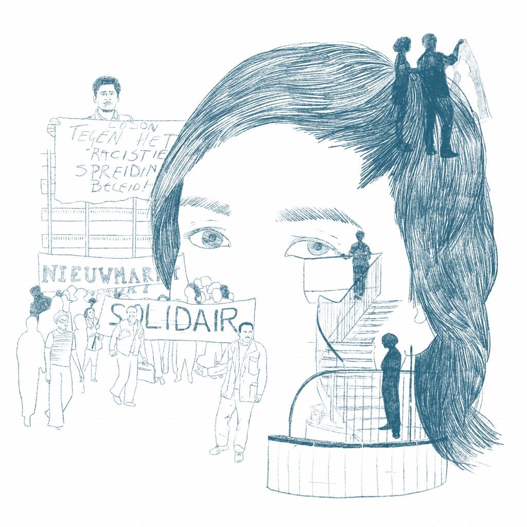 "Illustration by Haitham Haddad after Wendelien van Oldenborgh's ""Prologue: Squat/Anti-Squat,"" 2016."