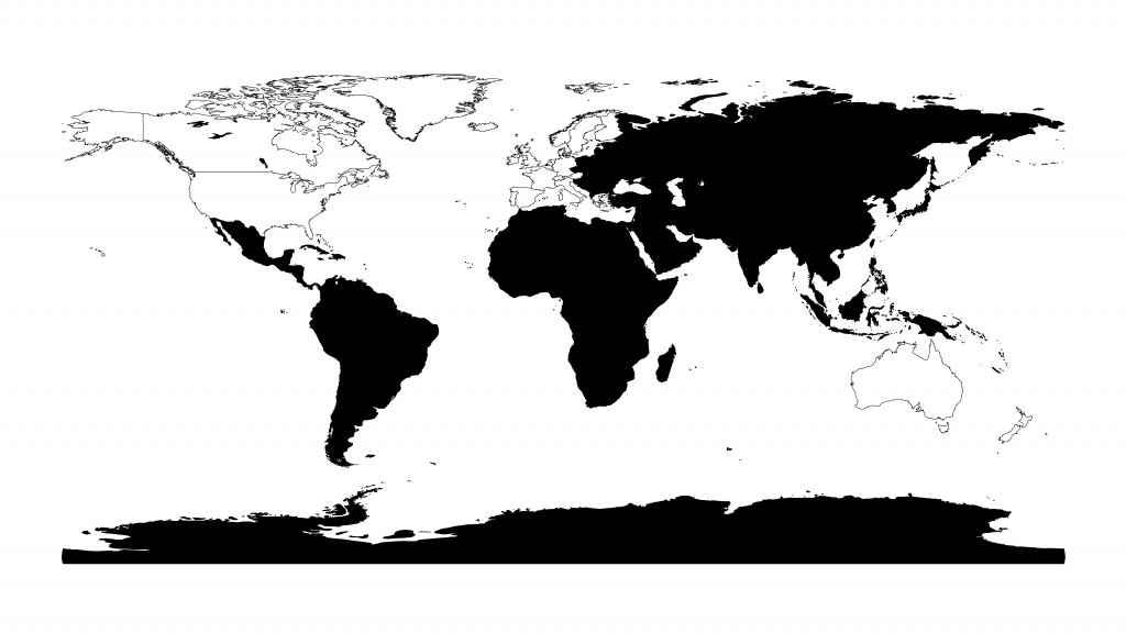 "Figure 1. Map showing in black the countries considered, for the purpose of the dataset, to be ""non-Western."" The countries in white are excluded from the dataset."