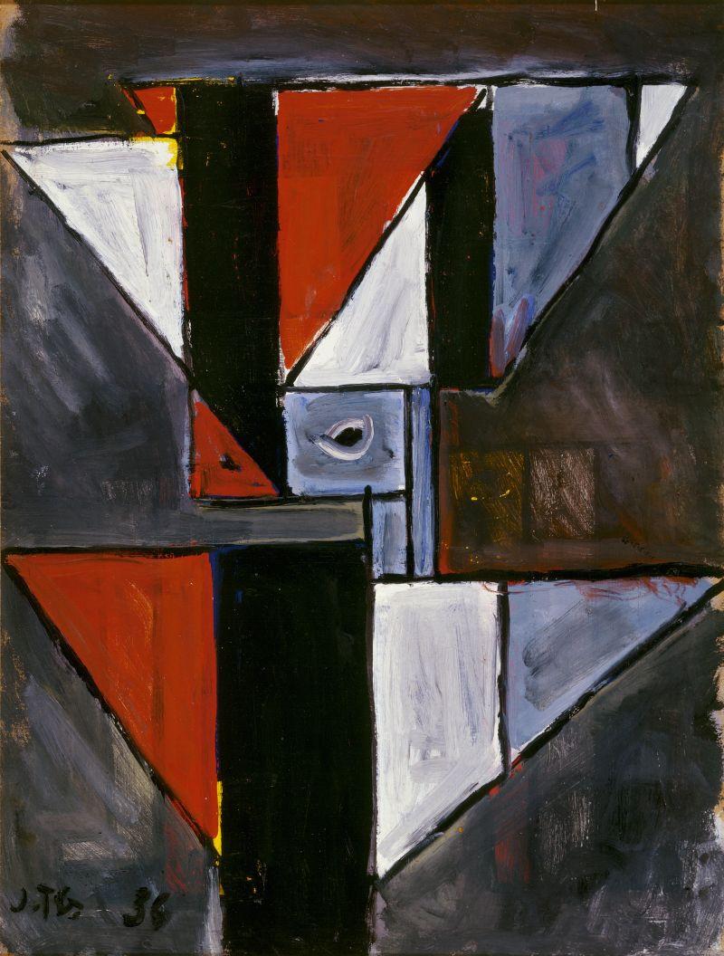 """Joaquin Torres-García, """"Forma abstracta con triángulos,"""" 1936. Acquired in 1960. Collection Stedelijk Museum Amsterdam / © Joaquin Torres-García."""