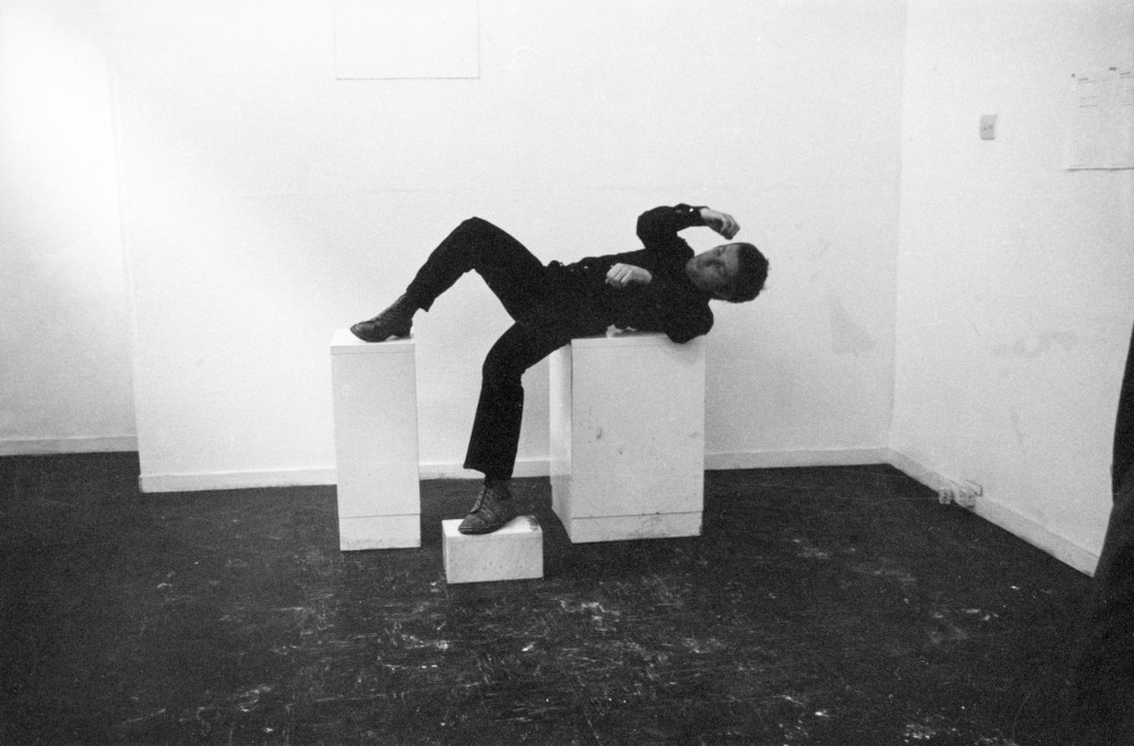 """Bruce McLean, """"Pose Work for Plinths"""" (detail), 1971. Black-and-white photograph, 20 × 25.5 cm. Courtesy of the artist and Tanya Leighton, Berlin."""