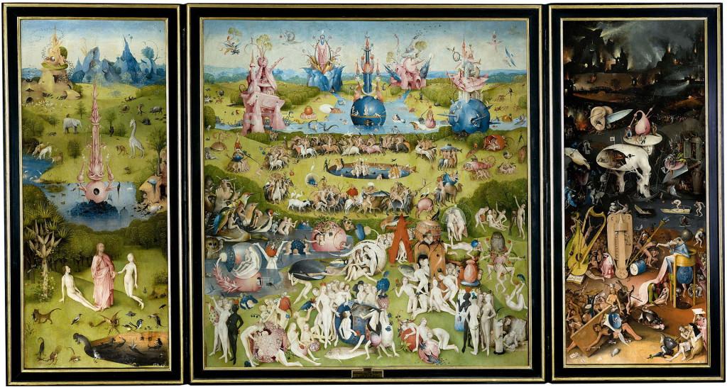Jheronimus Bosch, 'De tuin der lusten', 1480-1490. Collectie Museo del Prado, Madrid. Creative Commons 0: Publiek domein.