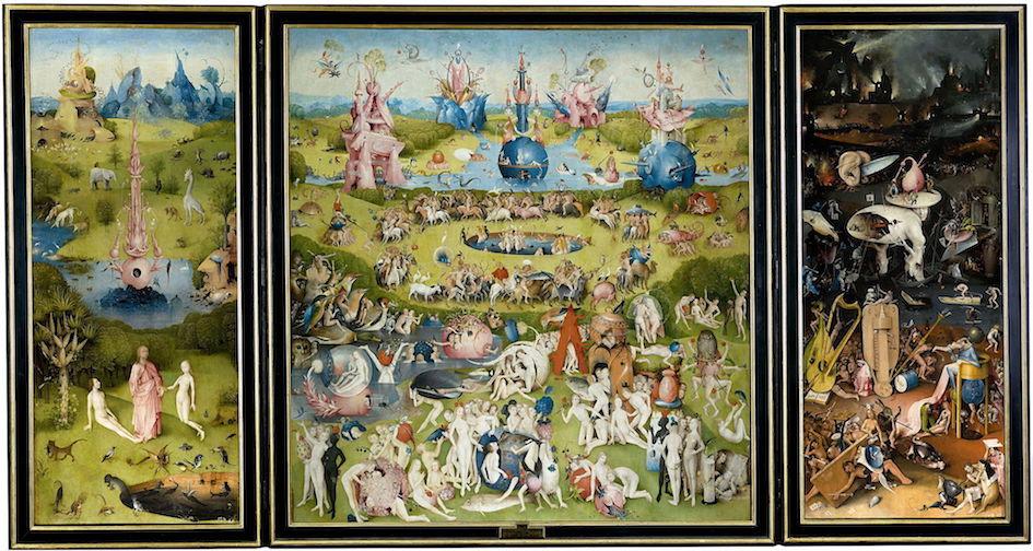 "Jheronimus Bosch, ""The Garden of Earthly Delights,"" 1480-1490. Collection Museo del Prado, Madrid. Creative Commons 0: Public Domain."