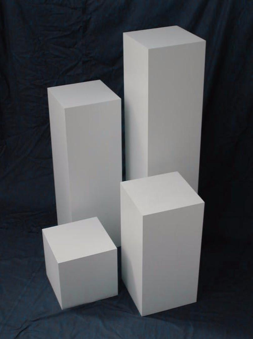 """White Laminate Art Display / Pedestal / Plinth / Stand,"" LTN Sg."